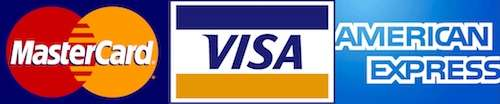 We accept MasterCard, Visa and American Express